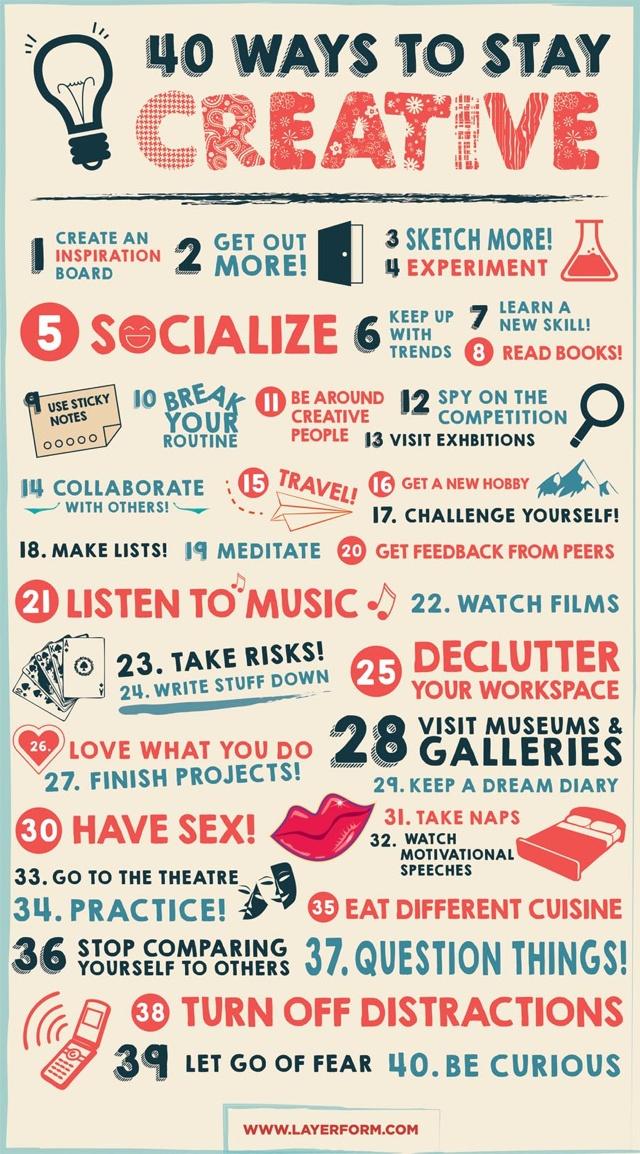 #Creatività: 40 suggerimenti per trovare la giusta ispirazione!