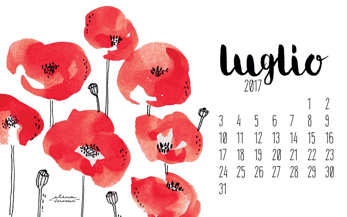 Desktop calendar di luglio